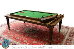 8ft Gillows Antique Rollover Convertible Billiard / Snooker Dining Table C.1880 Antique Dining Tables, Dining Chairs, Bar Billiards Table, Convertible, Vintage Accessories, Antiques, Bar Pool Table, Antiquities, Infinity Dress