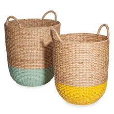 SYRACUZE 2 two-tone woven basketwork baskets