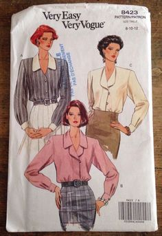 #Vogue pattern 8423 is for a loose-fitting blouse which has self or contrast collar variations, extended shoulders, shoulder pads and long sleeves with pleats and self or contrast button cuffs. Narrow hem. B and C: mock front band and button/loop and snap closing.