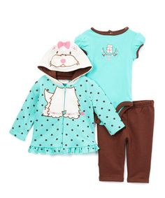 Look what I found on #zulily! Turquoise & Brown Terrier Ruffle-Trim Hoodie Set - Infant #zulilyfinds