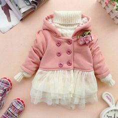 baby girl clothes autumn spring winter coat kid green pink coat gown