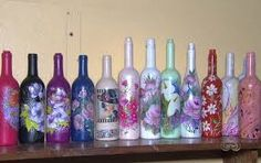 Resultado de imagem para artesanato de garrafas de vidro