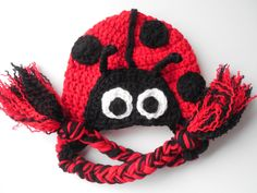 Adult Animal Hat - Lady Bug Hat - Adult Lady Bug Hat -  Red and Black - Handmade Crochet - Made to Order