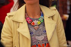 Ambitieuse: PFW AW13 | street style  Shourouk necklace - Kenzo sweatshirt