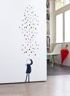 on the wall wall stickers children's wall stickers raindrops wall sticker Monsieur Under the Rain wall sticker Poisson Bulle French Blossom published by Bobby Rabbit Diy Wall Painting, Creative Wall Painting, Wall Decor, Room Decor, Childrens Wall Stickers, Wall Drawing, Wall Design, Design Design, House Design