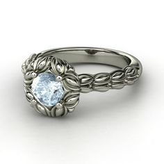 Round Aquamarine 18K White Gold Ring with Black Diamond - Catalina Ring | Gemvara