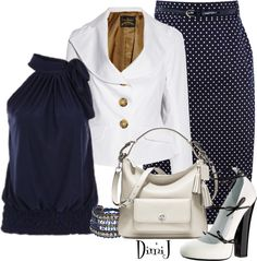 """Office Look - The Blue and White Collection"" by dimij on Polyvore"