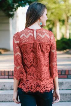 Order women's tops and choose from a wide variety of cute colors and styles. Red Dress Boutique is your one-stop shop for the hottest shirts, sweaters, and more! Rust Orange, Marsala, Pantone Color, Philosophy, Lace, Hot, Sweaters, Shirts, Shopping