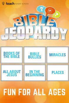 Bible Trivia Game: Jeopardy [PRINTABLE] Printable Bible Jeopardy game is perfect for trivia lovers of all ages! Fun for home, church, Sunday School, VBS, etc. Play in teams or singles- the more the merrier. Sunday School Activities, Bible Activities, Church Activities, Sunday School Crafts, Church Games, Kids Church, Church Ideas, Youth Sunday School Lessons, Bible Study For Kids
