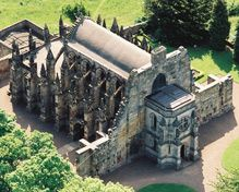 """Rosslyn Chapel is located in the village of Roslin, approximately 7 miles south of Edinburgh. Built between 1446 and 1484, it has been described as an """"Architectural Wonder"""" and a """"Library in Stone""""."""