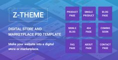Z-Theme  Digital Store and Marketplace PSD Template by dot_themes Z-Theme is beautifully Flat design PSD template for selling digital products website. This template is a perfect for own digital g