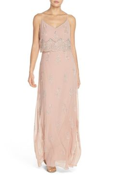 Adrianna Papell Beaded Popover Bodice Gown available at #Nordstrom This one would also be nice as the second blush color