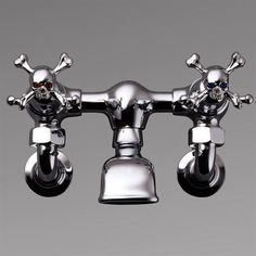☠ Gothic Skull Upward Facing Tap Heads Polished Chrome Brilliant Cut Red Crystals and Brilliant Cut Blue Crystals ~ Designed to be fitted onto Barber Wilson wall mounted taps/faucets. Design by Stephen Einhorn ☠