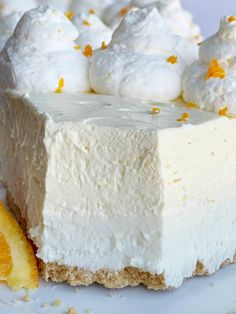 Orange Creamsicle Pie is a no bake dessert. Graham cracker crust, sweet cream layer, and a light & fluffy fresh orange layer. Whipped Cream Desserts, Fluff Desserts, Whipped Cream Cheese, Cold Desserts, Soften Cream Cheese, Pudding Desserts, Summer Desserts, No Bake Desserts, Jello Pie Cool Whip