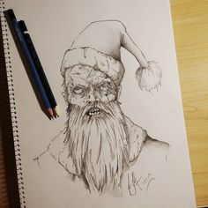 He sees you when you're sleeping... I'm trying to get into the holiday spirit. #Art #Horror #Santa #Christmas #Artist #Drawing #Illustration #DailyArt #InstaDraw #InstaArt #InstaArtist #WorldofArtists #ArtistsOfInstagram #TraditionalArt #PencilDrawing #Pencil #Sketch #Doodle #Practice #Face #Portrait #Monster #Scary #Sketching #Sketchbook