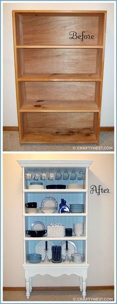 Tutorial - How to turn an old bookcase into a beautiful china cabinet.Tutorial - How to turn an old bookcase into a beautiful china cabinet. What a great idea! Refurbished Furniture, Repurposed Furniture, Painted Furniture, Distressed Furniture, Refurbished Bookcase, Metal Furniture, Refurbished Cabinets, Repurposed China Cabinet, Farmhouse China Cabinet