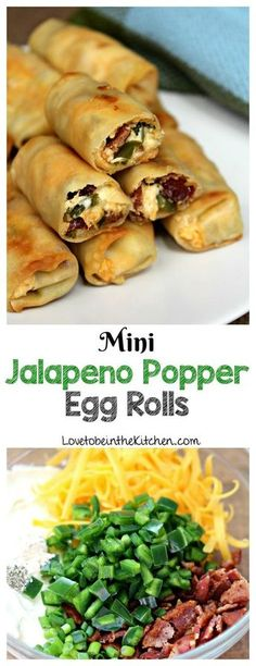 Mini Jalapeno Popper Egg Rolls - Love to be in the Kitchen - These Mini Jalapeno Popper Egg Rolls are the perfect crowd-pleasing appetizer! Creamy, crunchy, cheesy, spicy, and flavorful! Source by ChrisDanielleRedding Appetizer Dips, Appetizers For Party, Appetizer Recipes, Party Snacks, Party Dips, Simple Appetizers, Healthy Appetizers, Southern Appetizers, Bacon Wrapped Jalapeno Poppers