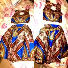 Printed flared skirt and crop top by Lee.N.D