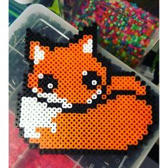 Fox perler beads by im_thelibrarian