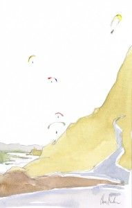 Mussel-Rock-Pacifica-CA-paragliders-en-plein-air-watercolor-paintings-chris-carter-artist-020313a-web | Chris Carter Artist