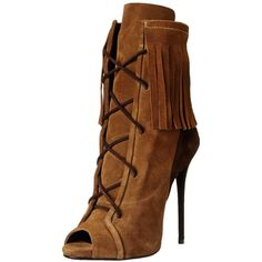 Giuseppe Zanotti Women's Lace-Up Fringe Boot ($1,129) ❤ liked on Polyvore featuring shoes, boots, ankle booties, heels, ankle boots, fringe booties, open toe heel booties, lace-up booties, heeled booties and heeled ankle boots