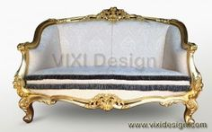 Classic furniture French Louis sofa double seater antique gilded, reproduction furniture using Mahogany wood frame classic carving from Jepara with gold leaf
