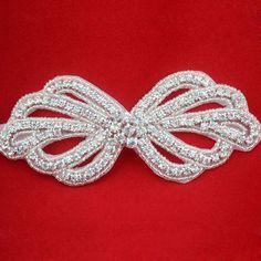 "Rhinestone Beaded Bow Applique, Bridal, Wedding, Head Band 5.3"" x 2.25"". $9.95, via Etsy."