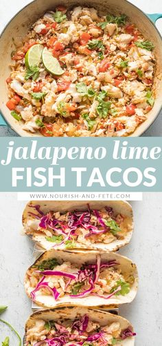 These tasty Jalapeno Lime Fish Tacos are healthy, fresh, and packed with flavor. An easy 30-minute meal to escape the weeknight dinner rut. Fish Recipes, Mexican Food Recipes, Chicken Recipes, Ethnic Recipes, Quick Weeknight Meals, Pescatarian Recipes, Fish Tacos, Fish And Seafood, Healthy Dinner Recipes