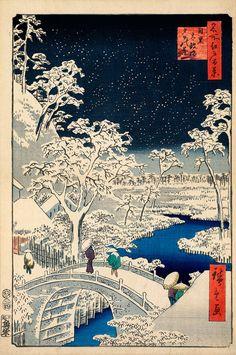 Utagawa Ando Hiroshige: « le pont de tambour et Sunset Hill à Meguro » (cent vues célèbres d