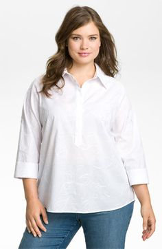 Foxcroft Floral Embroidered Blouse (Plus) | Nordstrom