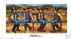 Blue Belles by Donna Polivka Cowgirl Western Art Open Edition Paper Print #Impressionism