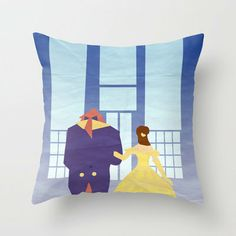 Disney - Belle & Beast Throw Pillow by Jessica Slater Design & Illustration | Society6
