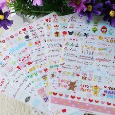 1 pacote = 6 folhas fantastique! Mignon dessin marché journal transparente Scrapbooking calendrier Album déco autocollant livraison gratuite