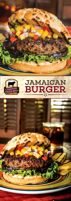Get ready for FLAVOR! These Sweet Jamaican Burgers use Certified Angus Beef® brand ground beef for the best tasting burger, seasoned with a Jamaican jerk spice rub and topped off with an INCREDIBLE mango salsa, pineapple, and onion. This easy burger reci Best Beef Recipes, Jamaican Recipes, Hamburger Recipes, Grilling Recipes, Cooking Recipes, Easy Recipes, Barbecue Recipes, Vegetarian Recipes, Bar A Burger