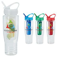 Norwood - Fruit Infusion Sport Bottle. Infuse water with fruit for an extra kick.  Shatterproof bottle with colorful lid and matching fruit cage.  Flip top spout.