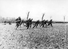 16 October - 22 November 1914 - Battle of the Yser - French and Belgian forces secure the coastline of Belgium, thus ends the Race to the Sea. The Germans are prevented from reaching Calais and Dunkirk. - Seen here are Belgian soldiers make a charge near the River Yser.