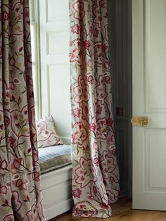 window seat with curtains