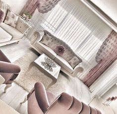 Beyaz, Mor, Perde, Salon rosa Sevcan hanımın beyaz ve mor uyumunda, sofistike evi. Living Room Designs, Living Room Decor, Bedroom Decor, Salons Violet, Living Pequeños, Purple Curtains, Luxury Living, Furniture Decor, Shabby Chic