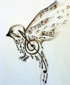 beauty drawing art cute music birds draw Black & White tattoo bird look música music notes liberty ave dibujo pajaro hermoso swet libertad notas musicales clave de sol Music Bird Tattoos, Music Tattoo Designs, Tattoo Music, Tattoo Bird, Sick Tattoo, Music Designs, Tattoo Pain, Treble Clef Tattoo, 3 Tattoo