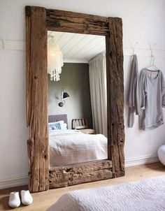 43 Cozy Rustic Home Decor Ideas – Home decorating can be very fun but yet challenging at times; whether it be with western decorations or rustic home decor. Western home decor is decor… Wood Framed Mirror, Rustic Mirrors, Driftwood Mirror, Wall Mirror, Mirror Hooks, Giant Mirror, Cheap Home Decor, Diy Home Decor, Home Decoration