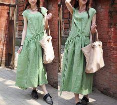 Long Linen Dress in Green