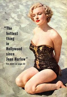 """""""The hottest thing in Hollywood since Jean Harlow"""" - Marilyn Monroe featured in a vintage movie magazine article wearing a Renie black and gold metallic swimsuit in a publicity photo for """"Let's Make It Legal"""". Photo by Earl Theisen, Marilyn Monroe Swimsuit, Marilyn Monroe Photos, Beverly Hills, Cinema Tv, Jean Harlow, Norma Jeane, Joe Dimaggio, Up Girl, Photos Du"""