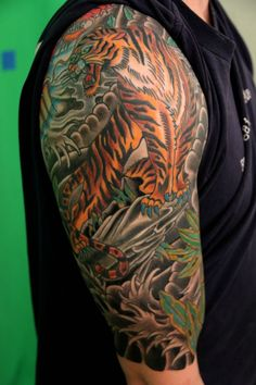 Japanese traditional half sleeve. Done by Jaime of Death of Glory Tattoo. Westbrook, Maine