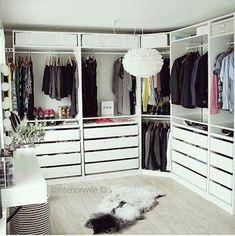 Master Walk in Closets & Organized Closet Space. Ikea Pax Wardrobe, Ikea Closet, Bedroom Wardrobe, Closet Space, Dressing Ikea, Dressing Rooms, Ideas Armario, Closet Vanity, Master Bedroom Closet