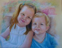 Retrato de niños, Encargo personalizado, Retrato de hermanos, Retrato a pastel, Regalo para abuelos, Regalo para madre, Regalo diferente by irismuse on Etsy