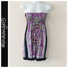 SALEMulticolored Patterned Strapless Dress Size-Medium Brand-One Clothing  Condition-Excellent used condition  Color- Black, Purple, White, Green Special Features-Elastic top;Beautiful patterns; multicolored Length-20in Bust-20in TRADESPAYPAL✅OFFERS ACCEPTED one clothing Dresses Strapless