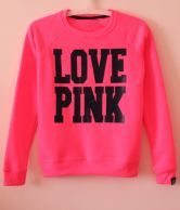 Black Long Sleeve LOVE PINK Print Sweatshirt - Sheinside.com