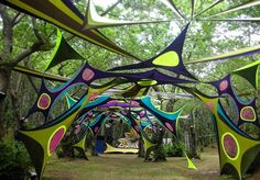 Psychedelic Decor, Parc A Theme, Psy Art, Glamping, Neon Party, Raves, Yarn Bombing, Festival Decorations, Stage Design