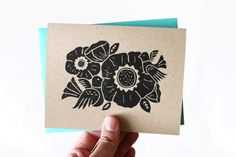 Handprinted flower and bird print on light brown kraft paper by Paper Planes & Mud Pies. #cards #handmade #etsy