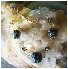 Beautiful Handmade Silver Necklace with Snowflake Obsidian & Roses by IreneDesign2011 in my Etsy shop https://www.etsy.com/listing/157255567